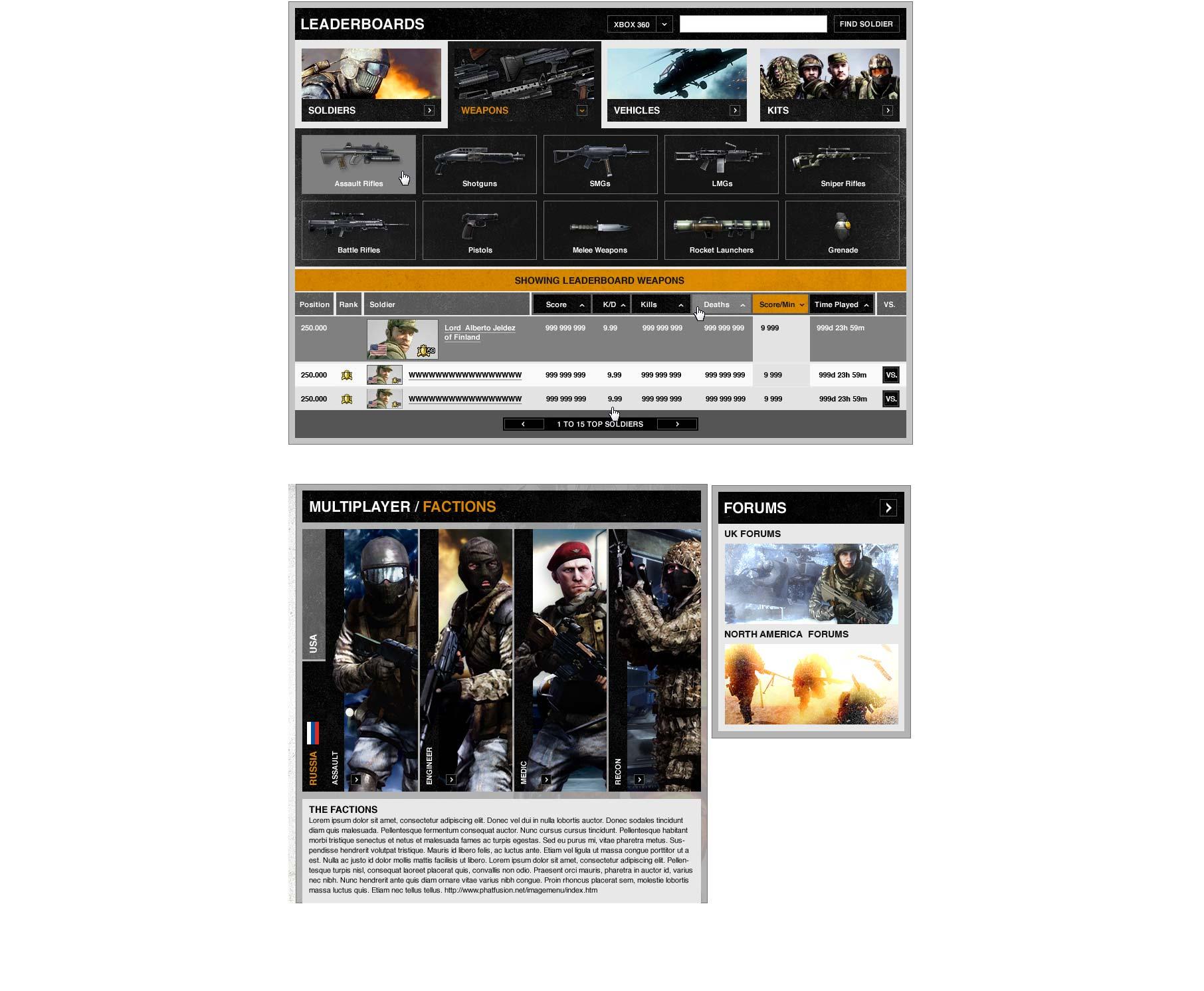 Battlefield Bad Company 2 interface misc.